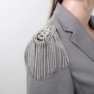 Epaulettes Retro Elegant Handmade Beaded Sparkling Tassels Chain Shoulder Brooch