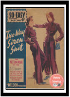 1940's Wartime Two Way Siren Suit Vintage Sewing Pattern - Bust 36