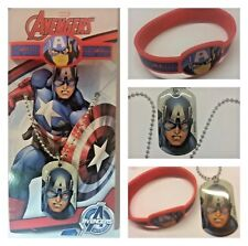 MARVEL CAPTAIN AMERICA  PENDANT NECKLACE AND BRACELET X2 KID GIFT UK PARTY PACK