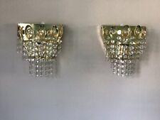 Pair Italian chandelier wall lights Crystal droplets Mirror backed