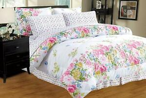 Blue Pink White Floral Spray 8 pc Comforter Sheet Set Twin Full Queen King Bed