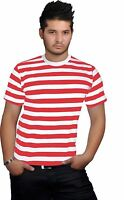 NEW MEN'S RED & WHITE STRIPE CREW ROUND NECK T SHIRT TOP ALL SIZES SMALL TO XXL