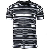 Men's Casual Classic Striped Crew Neck Short Sleeve Jersey T shirt Size S M L XL