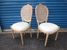 RARE Pair Faux Bois Dining Chairs Cane Hollywood Regency Tree Branch Cottage 2