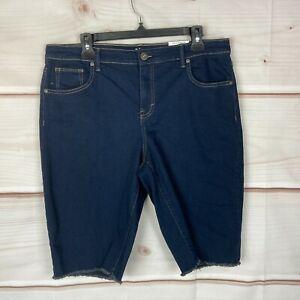 Style & Co Denim Mid Rise Cut-Off Womens Size 14 Dark Wash Blue Bermuda Shorts