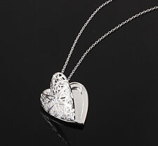 Silver love heart valentine necklace pendant lover locket chain gift