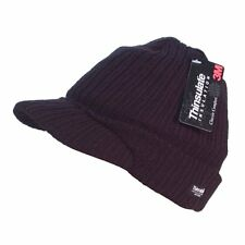 Thinsulate Peaked Visor Beanie Hat Black One Size
