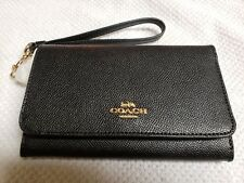Black Coach Flap Phone Wallet style with Wrist StrapF30205