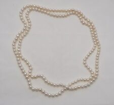 Vintage real cultured freshwater pearls very long retro flapper Gatsby necklace
