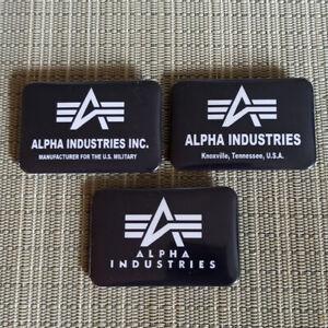 3er Set Alpha Industries / Rechteck Button / Pin / Badge / 60/40 mm / Rar / Top