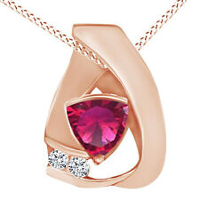 Pink Ruby & Cubic Zirconia Fashion Pendant Necklace 14K Rose Gold Over