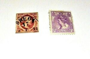 NETHERLANDS - 1852-1906, -  Lot of (2) USED & UNUSED, Hinged Stamps