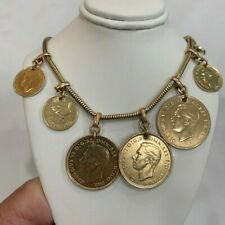 Vintage Gold tone coin necklace