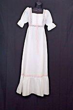 Vtg Country Nightgown Sz Petite  White Polyester Cotton Blend Lace Ribbon Trim