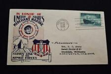 PATRIOTIC COVER 1946 1ST DAY ISSUE U.S. MERCHANT MARINE SUPPLY TO FORCES (5567)