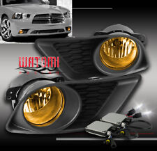 11-14 DODGE CHARGER BUMPER DRIVING YELLOW FOG LIGHTS LAMP+6000K HID+COVER+SWITCH