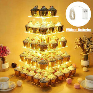 5 Tier Acrylic Clear Cupcake Display Stand Pastry Holder LED String Light