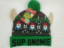 "WEMBLEY SANTAS LITTLE HELPER HAT ""Sup Gnomie"" Beanie Cap NWT Gnomes Ears Pom Pom"