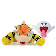 Set of 2 Super Mario Bros Boo Ghost & King Bowser Koopa Plush Doll Figure Toy
