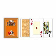 Modiano Texas Poker Card Game 100% Plastic Orange