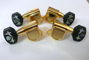Quality geared Ukulele Gold-plated machine heads MOP inlay Buttons 4ps 333UG-MOP