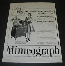 """Magazine Print Ad 1940 Art Mimeograph Duplicator """"By the time you've smoked a"""
