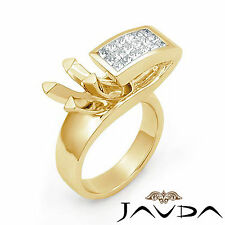 Diamond Engagement Women Fashion Ring 14k Yellow Gold Princess Semi Mount 0.55Ct