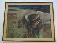 LARGE 1950'S TO 1960'S ABSTRACT EXPRESSIONISM PAINTING COLORFUL MODERNISM SIGNED