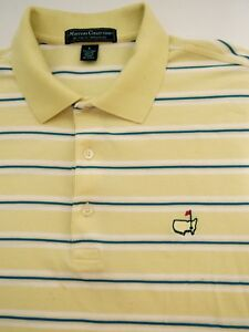 Masters Collection Large Mens Yellow Stripe Short Sleeve Cotton Golf Polo Shirt