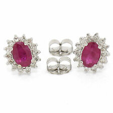 14k White Gold 1.38ct Oval Blood Red Ruby Solitaire & Diamond Halo Stud Earrings