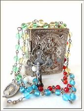 VINTAGE 1940's FRENCH NOTRE DAME BOOK LOCKET CASE w/ MISSIONARY ROSARY INSIDE !