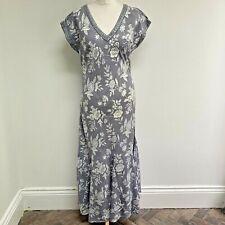 ANOKHI FOR EAST Maxi Dress Size 12 Grey Floral Sleeveless Boho Indian Cotton