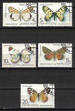 RUSSIA,USSR:1986 SC#5435-39(5) USED - Butterflies
