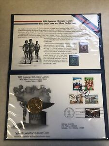 1988 Summer Olympics First Day Cover and Silver Dollar 22K Gold Plated Coin