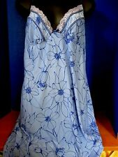 LINEA DONATELLA~Blue Floral BABYDOLL NIGHTIE NIGHTGOWN w/ Lace~Women's Medium
