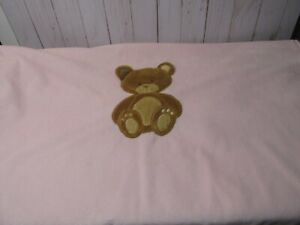 Baby Starters Blanket Pink Center Applique Brown Bear Soft Plush Lovey Security