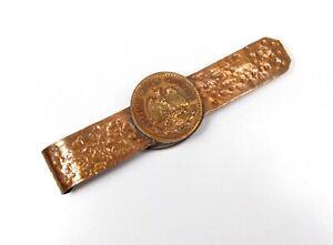 Handmade Vintage Estados Unidos Mexicanos Money Tie Clip Copper Mexican Coin