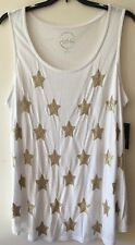 INC Women White Gold Star Beaded Sequined Top Xmas Tunic Plus Size 3X New Msr$69