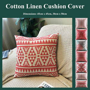 Red Geometric Floral Cotton Linen Printed Cushion Cover Decorative Pillow Case