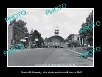 OLD LARGE HISTORIC PHOTO OF SCOTTSVILLE KENTUCKY, THE MAIN STREET & STORES c1940