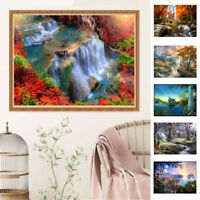 HN- KF_ DIY 5D Full Round Diamond Embroidery Painting Landscape Craft Home Decor
