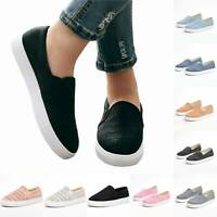 Womens Flats Summer Sneakers Loafers Slip On Comfy Trainers Pumps Casual Shoes