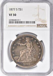 1877-S Trade Silver Dollar T$1 NGC VF 30