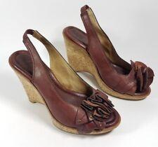 Frye burgundy leather wedge heel slingback sandals uk 5.5