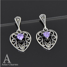 Marcasite Amethyst Earrings Dangle Sterling Silver Wedding Birthday Gifts her