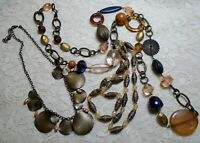 VINTAGE TO NOW ASSORTED PEACH LUCITE & PAPER BEADED BRONZE TONE NECKLACE LOT