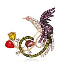 Brosche in Gold Vogel Phönix mit vielen bunten Strass und Kristalle