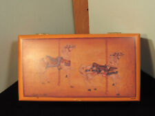 Vintage Lane Co. Wooden Lockable Keepsake/Jewelery Box With Carosel Horses