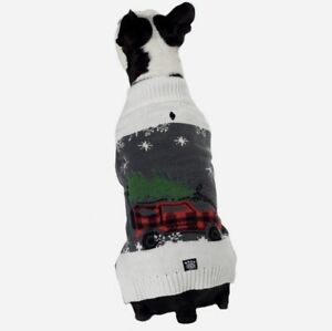 Petrageous Dog Christmas Gray Sweater Tinsel's Red Plaid Jeep and Tree  XS S M L