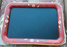 Repurposed vintage metal Tray Chalkboard red with yellow flowers 18x13 rectangle